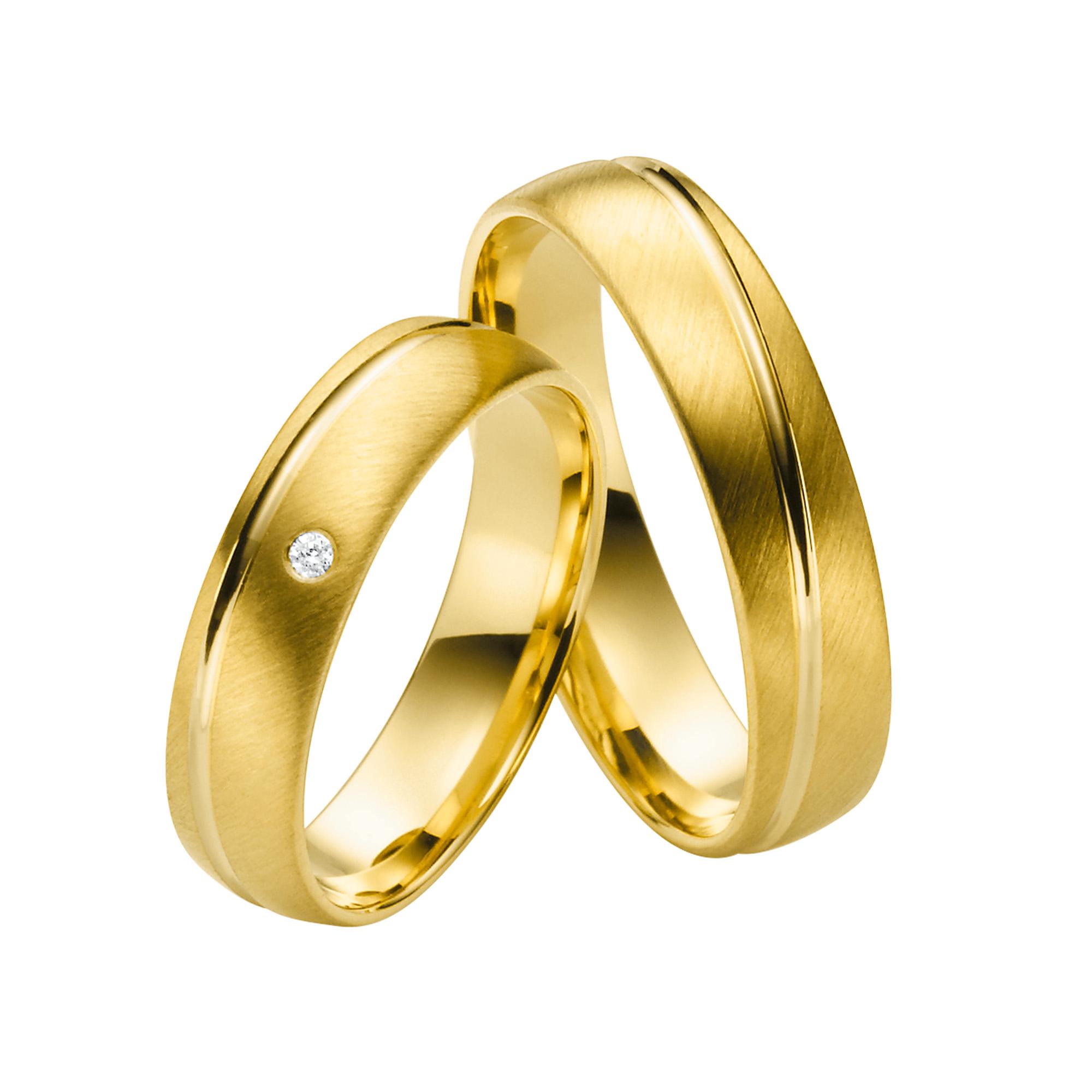Juwelier Kraemer – Trauring Gold mit Brillant MEMPHIS – 52 mm