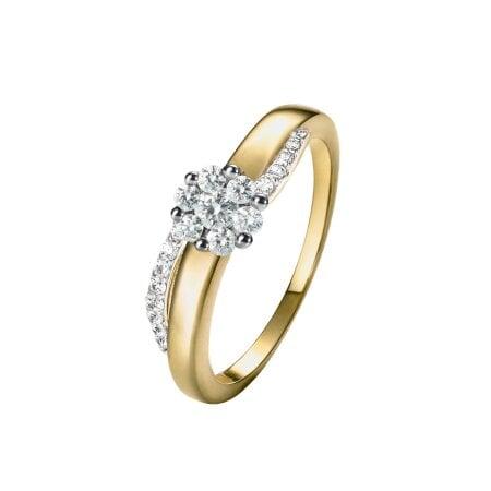 Juwelier Kraemer Ring Diamant 585/ - Gold – zus. ca. 0,35 ct – 52 mm