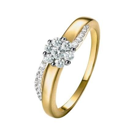 Juwelier Kraemer Ring Diamant 585/ - Gold – zus. ca. 0,35 ct – 56 mm