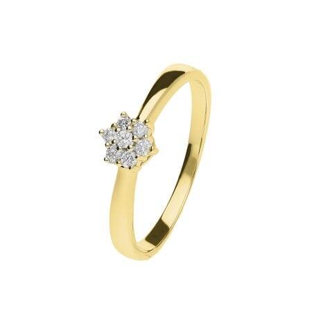 Juwelier Kraemer Ring Diamant 333/ - Gold – zus. ca. 0,10 ct – 54 mm