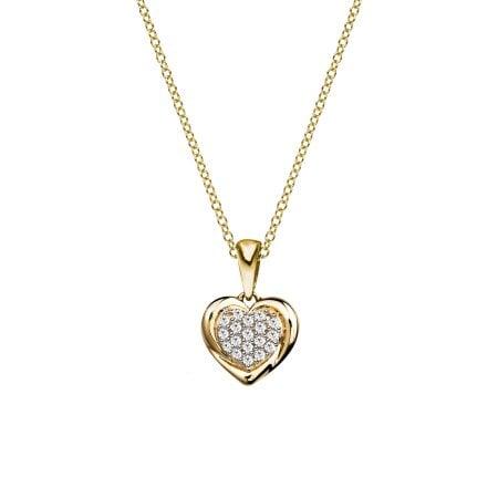 Diamantherz Anhänger mit gefassten Brillanten 333/ - Gelbgold