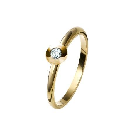 Juwelier Kraemer Ring Diamant 375/ - Gold – ca. 0,08 ct – 56 mm