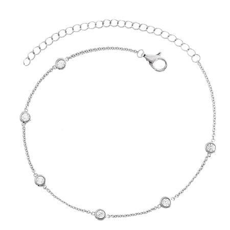 Juwelier Kraemer Fusskette Zirkonia 925/ - Silber