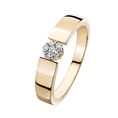 Juwelier Kraemer Ring Diamant 375/ - Gold – zus. ca. 0,10 ct – 58 mm