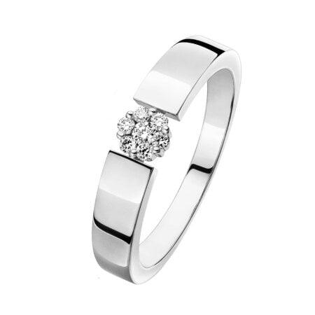 Juwelier Kraemer Ring Diamant 375/ - Gold – zus. ca. 0,10 ct – 58 mm